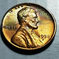 1958  D BU RED  LINCOLN WHEAT PENNY / CENT  .TONED    3155