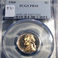 1960 JEFFERSON NICKEL PCGS PR68 GOLD TONED BEAUTY NEW PURCHASES CHN