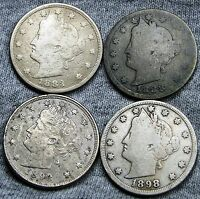 1883 W/CENTS  1888  1893 1898 LIBERTY V NICKELS ---  --- D789