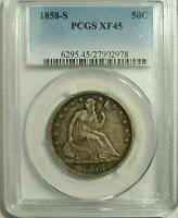 1858 S  SEATED LIBERTY HALF  PCGS  XF 45