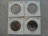 ALL 4 COINS 2000 2001 2003 2008 PHILADELPIA KENNEDY HALF DOLLAR COIN UNC