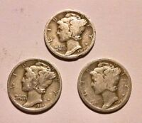 MERCURY DIME LOT OF 3// 1917 1918 1927/ 90 SILVER 5G5