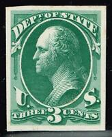 USA STAMP O59 P4 3C OFFICIAL STATE 1873 PLATE PROOF CARD STAMP