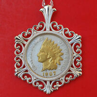 US 1907 INDIAN HEAD SMALL CENT 24K GOLD PLATED COIN 925 STERLING SILVER NECKLACE