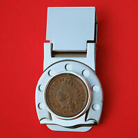 US 1907 INDIAN HEAD SMALL CENT COIN HORSESHOE HINGED MONEY CLIP NEW