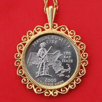 US 2000 MASSACHUSETTS STATE QUARTER BU COIN GOLD PLATED NECKLACE 24
