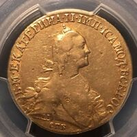 1776 10 ROUBLES GOLD RUSSIA EKATERINA II  PCGS VF30