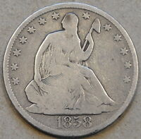 1858 O LIBERTY SEATED HALF DOLLAR FULL RIMS DIPPED LONG AGO
