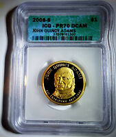 2008-S $1 JOHN QUINCY ADAMINT STATE 6TH PRESIDENT ICG - PR70 DCAM - NEW LOW PRICE