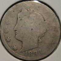 1893 LIBERTY NICKEL   COIN AVERAGE CIRCULATED BETTER DATE Q12-30