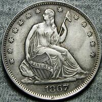1867 S SEATED LIBERTY HALF DOLLAR      TYPE COIN     N047