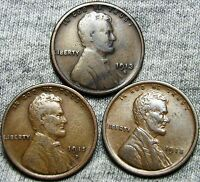 1913-S 1915-D  1918 LINCOLN WHEAT CENTS LOT ---  LOT--- N278
