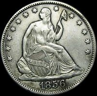 1856/56 O SEATED LIBERTY HALF DOLLAR BREEN 4868   STUNNING TYPE COIN      D334