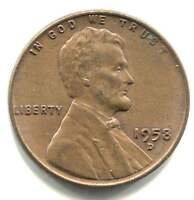 U.S. 1958 D LINCOLN WHEAT PENNY   AMERICAN ONE CENT COIN   DENVER MINT