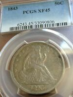 1843 SEATED HALF PCGS XF45 NICE ORIGINAL