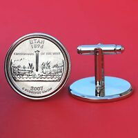 US 2007 UTAH STATE QUARTER COIN SILVER PLATED CUFFLINKS NEW   GORGEOUS