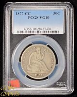 1877 CC SEATED LIBERTY HALF DOLLAR PCGS VG10 SILVER KEY DATE TYPE COIN GOOD