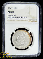 1875 SEATED LIBERTY HALF DOLLAR NGC AU 58 CHOICE TONING SILVER EARLY TYPE COIN