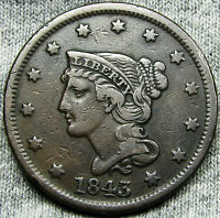 1843 BRAIDED HAIR LARGE CENT     NICE TYPE COIN     N170