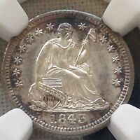 1843 HALF DIME NGC MS65 BOLD AND BEAUTIFUL NEW PURCHASES CHN