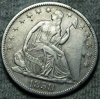 1858 S SEATED LIBERTY HALF DOLLAR      TYPE COIN     N045