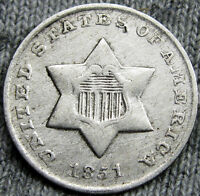 1851 O SILVER THREE CENT PIECE 3CP       CLEANED     D754