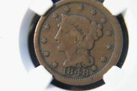 1848 LARGE CENT NGC F12 BN GREAT DEAL