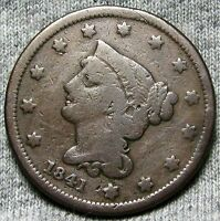 1841 BRAIDED HAIR LARGE CENT N 2     STUNNING TYPE COIN     N438