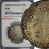 BOLIVIA SILVER 1854 PTS MJ 4 SOLES NGC XF40 TONED  KM 123.2