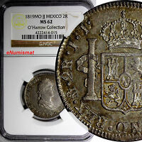 MEXICO FERDINAND VII SILVER 1819 MO JJ 2 REALES NGC MS62 NICE TONED KM 93