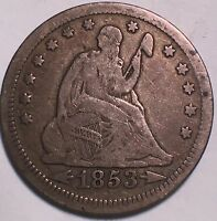 1853 WITH ARROWS AND RAYS SEATED QUARTER