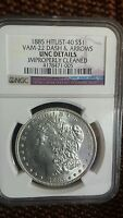 1885 MORGAN $1 UNCIRCULATED NGC VAM-22 HIT LIST 40 DASH UNDER 8 DOUBLED FEATHERS