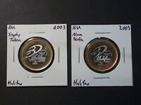 LOT OF TWO 2003 CURLING NOKIA BRIER BI METALLIC TOKENS HALIFAX NOVA SCOTIA