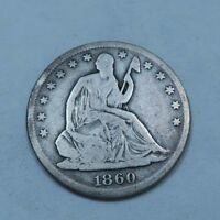 1860 S SEATED LIBERTY HALF DOLLAR // FINE // 90 SILVER // H271