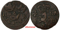 SWEDEN KARL XI 1660 1697 COPPER 1676 S.M.1/6 ORE VF CONDITION KM 254 10252