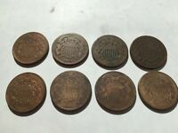LOT OF 8 1864 1865,1866 1870 COPPER US TWO CENT PIECE UNIQUE CIVIL WAR ERA COIN