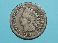 1861  INDIAN CENT PENNY COPPER/NICKEL KEY DATE  2198