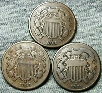 1865 1868 1871 TWO CENT PIECES 2CP --- TYPE COINS LOT --- N307