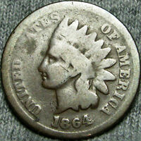 1864 INITIAL L INDIAN CENT PENNY             B603
