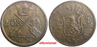 SWEDEN COPPER  FREDERICK I 1750 2 ORE,S.M.STRUCK AT AVESTA MINT .BROWN  KM 437