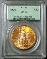 1926 GOLD $20 SAINT GAUDENS DOUBLE EAGLE COIN GREEN LABEL PCGS MINT STATE 64