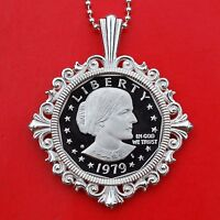 US 1979 SUSAN B ANTHONY DOLLAR BU UNC PROOF COIN 925 STERLING SILVER NECKLACE