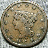 1841 BRAIDED HAIR LARGE CENT    TYPE COIN    O886