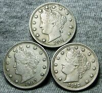 1907 1911 1912 LIBERTY V NICKELS --- STUNNING LOT --- N870