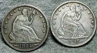 1846 O  1854 SEATED LIBERTY HALF DOLLARS     STUNNING DETAILS     N787