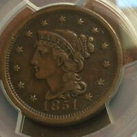 1851 LARGE CENT PCGS XF40 PROBLEM FREE N 26 R 3 FRESHLY SLABBED BY CHN