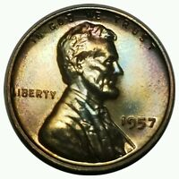 1957 PROOF   LINCOLN WHEAT CENT  TONED    . 3918