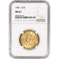 US GOLD $10 LIBERTY HEAD EAGLE   NGC MS61   RANDOM DATE