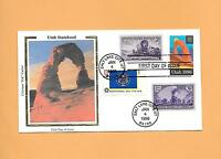 FDC 1996 FIRST DAY COVER 3024 UTAH STATEHOOD COMBO DUAL CANCEL COLORANO SILK