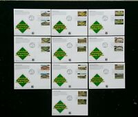 FDC 2001 UX365-74 BASEBALL FIELDS SET OF 10 COMBO 3510-19 FIRST DAY POSTCARDS